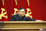 In this photo provided by the North Korean government, North Korean leader Kim Jong Un attends a Workers' Party meeting in Pyongyang, North Korea, Friday, June 18, 2021. Kim ordered his government to be prepared for both dialogue and confrontation with the Biden administration — but more for confrontation — state media reported Friday, days after the United States and others urged the North to abandon its nuclear program and return to talks. Independent journalists were not given access to cover the event depicted in this image distributed by the North Korean government. The content of this image is as provided and cannot be independently verified. (Korean Central News Agency/Korea News Service via AP)