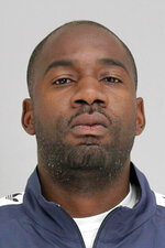 This undated booking photo provided by the Dallas County Jail shows Keith Johnson. WFAA-TV reports Johnson is being held Monday, Oct. 21, 2019, on a capital murder charge with bond set at $500,000. Investigators say Johnson and a second suspect allegedly shot former NBA and Texas Tech standout Andre Emmett during a Sept. 23 robbery attempt. (Dallas County Jail via AP)