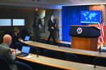 Secretary of State Antony Blinken arrives to speak about the release of the '2020 Country Reports on Human Rights Practices,' at the State Department in Washington, Tuesday, March 30, 2021. (Mandel Ngan/Pool via AP)