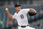 Detroit Tigers pitcher Matt Manning throws against the Chicago White Sox in the first inning of a baseball game in Detroit, Monday, Sept. 20, 2021. (AP Photo/Paul Sancya)