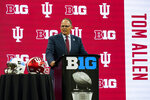 Indiana head coach Tom Allen talks to reporters during an NCAA college football news conference at the Big Ten Conference media days, at Lucas Oil Stadium in Indianapolis, Friday, July 23, 2021. (AP Photo/Michael Conroy)