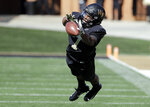 Wake Forest's Scotty Washington (7) reaches in vain for a pass against Syracuse in the first half of an NCAA college football game in Charlotte, N.C., Saturday, Nov. 3, 2018. (AP Photo/Chuck Burton)