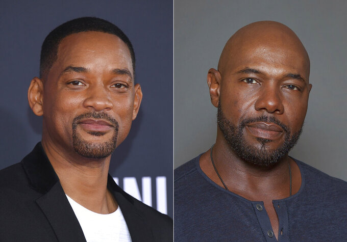 """Will Smith attends the premiere of """"Gemini Man"""" in Los Angeles on Oct. 6, 2019, left, and director Antoine Fuqua appears during a photo session in Los Angeles on July 12, 2015. Smith and director Fuqua have pulled production of their runaway slave drama """"Emancipation"""" from Georgia over the state's recently enacted law restricting voting access. The film is largest and most high profile Hollywood production to depart the state since Georgia's Republican-controlled state Legislature passed a law that introduced stiffer voter identification requirements for absentee balloting. (AP Photo)"""