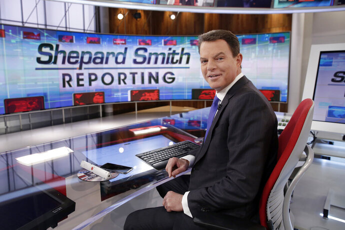 FILE - In this Jan. 30, 2017, file photo, Fox News Channel chief news anchor Shepard Smith appears on the set of