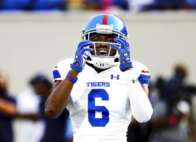 Tennessee State safety Josh Green reacts to a pass interference call during the Southern Heritage Classic NCAA college football game against Jackson State in Memphis, Tenn., Saturday, Sept. 11, 2021. (Patrick Lantri/Daily Memphian via AP)