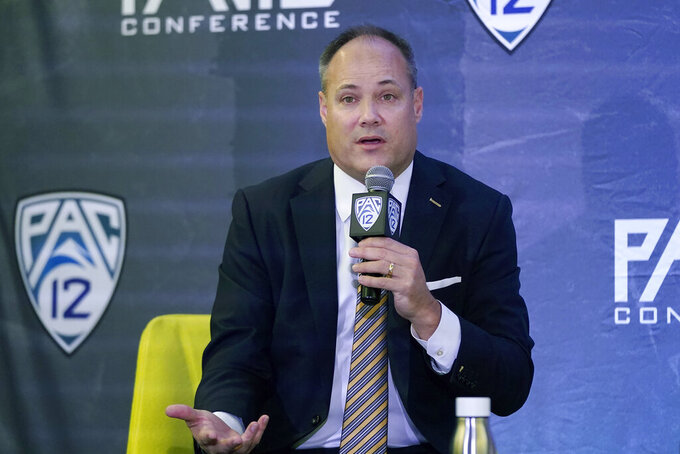 California head coach Mark Fox speaks during the Pac-12 Conference NCAA college basketball media day Wednesday, Oct. 13, 2021, in San Francisco. (AP Photo/Jeff Chiu)