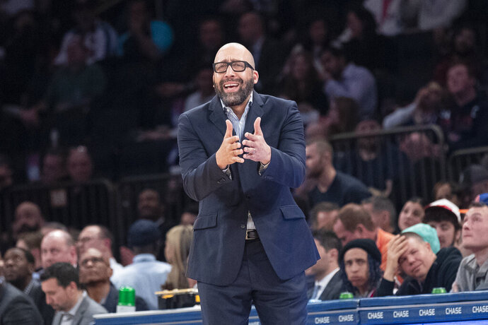 New York Knicks coach David Fizdale reacts during the first half of the team's NBA basketball game against the Denver Nuggets, Thursday, Dec. 5, 2019, at Madison Square Garden in New York. (AP Photo/Mary Altaffer)