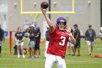 Minnesota Vikings quarterback Jake Browning (3) throws an NFL football training camp at TCO Stadium, Tuesday, Aug. 3, 2021, in Eagan, Minn. (AP Photo/Jim Mone)
