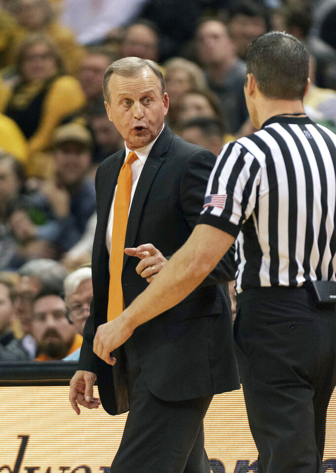 Tennessee head coach Rick Barnes argues a call during the first half of an NCAA college basketball game against Missouri Tuesday, Jan. 8, 2019, in Columbia, Mo. (AP Photo/L.G. Patterson)