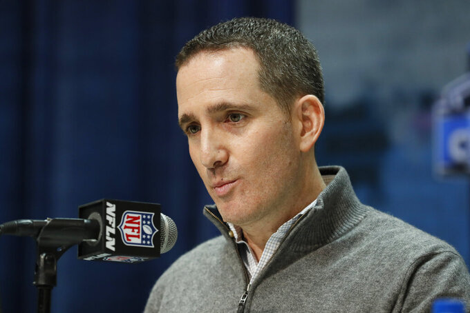 FILE - In this Feb. 25, 2020, file photo, Philadelphia Eagles general manager and executive vice president Howie Roseman speaks during a press conference at the NFL football scouting combine in Indianapolis. The Eagles have eight picks after trading a pair to Detroit to get three-time Pro Bowl cornerback Darius Slay. They have the 21st overall pick, one in the second round (No. 53), one in the third (No. 103) and three more in the fourth.  (AP Photo/Charlie Neibergall, File)