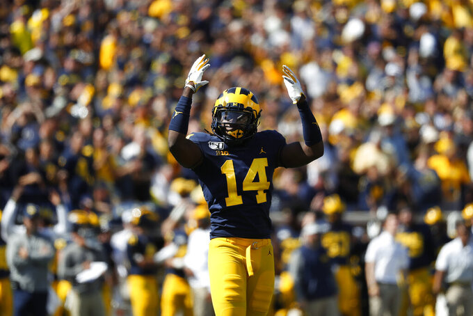 Michigan defensive back Josh Metellus reacts during overtime in an NCAA college football game against Army in Ann Arbor, Mich., Saturday, Sept. 7, 2019. Michigan won 24-21 in double-overtime. (AP Photo/Paul Sancya)