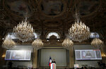 French President Emmanuel Macron speaks at the national conference on Handicap at the Elysee Palace in Paris, France, Feb. 11, 2020. (Gonzalo Fuentes/Pool via AP)