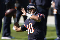 Chicago Bears quarterback Mitchell Trubisky throws before an NFL football game against the New York Giants in Chicago, Sunday, Sept. 20, 2020. (AP Photo/Nam Y. Huh)