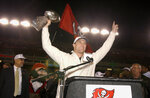 FILE - In this Jan. 27, 2003, file photo, Tampa Bay Buccaneers' John Lynch holds the Vince Lombardi Trophy during a victory celebration at Raymond James Stadium in Tampa, Fla. Lynch earned his first of nine Pro Bowl selections in his second season as a full-time starter in 1997, was named an All-Pro in back-to-back seasons in 1999 and 2000 and then played a big part in Tampa's first Super Bowl title in the 2002 season. (AP Photo/Scott Martin, File)