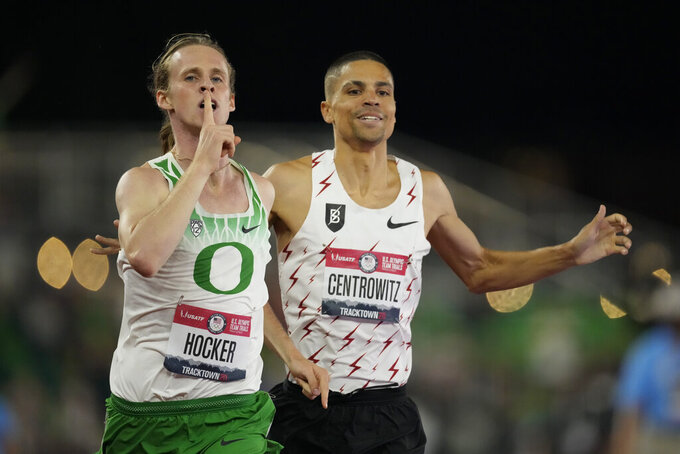 Cole Hocker celebrates after winning the final in the men's 1500-meter run at the U.S. Olympic Track and Field Trials Sunday, June 27, 2021, in Eugene, Ore. (AP Photo/Ashley Landis)
