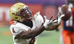 Boston College wide receiver Zay Flowers (4) can't reach an overthrown pass during the first half of NCAA college football game against Boston College, Saturday, Nov. 7, 2020, at the Carrier Dome in Syracuse, N.Y. (Dennis Nett/The Post-Standard via AP)
