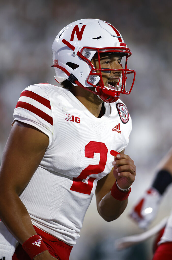 Nebraska quarterback Adrian Martinez celebrates his rushing touchdown against Michigan State during the second quarter of an NCAA college football game, Saturday, Sept. 25, 2021, in East Lansing, Mich. (AP Photo/Al Goldis)