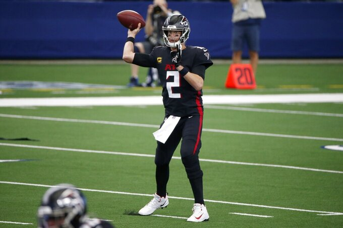 Atlanta Falcons quarterback Matt Ryan (2) throws a pass in the first half of an NFL football game against the Dallas Cowboys in Arlington, Texas, Sunday, Sept. 20, 2020. (AP Photo/Michael Ainsworth)