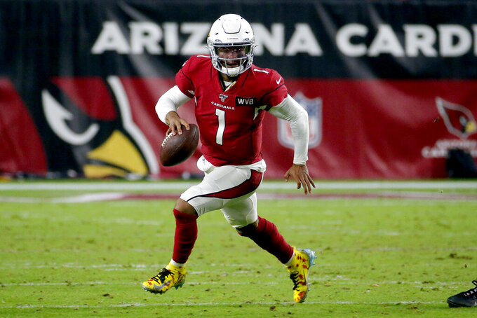 Arizona Cardinals quarterback Kyler Murray (1) scrambles against the Pittsburgh Steelers during the second half of an NFL football game, Sunday, Dec. 8, 2019, in Glendale, Ariz. (AP Photo/Rick Scuteri)