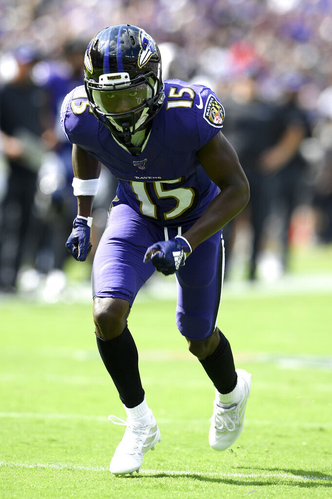 Baltimore Ravens wide receiver Marquise Brown runs a route against the Cleveland Browns during the first half of an NFL football game Sunday, Sept. 29, 2019, in Baltimore. (AP Photo/Nick Wass)