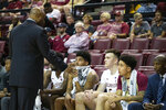 Players on the bench listen to Florida State head coach Leonard Hamilton before playing in the second half of an NCAA college basketball game in Tallahassee, Fla., Saturday, Dec. 28, 2019. (AP Photo/Mark Wallheiser)