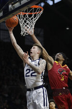 Butler's Sean McDermott (22) puts up a shot against Louisiana Monroe's JD Williams (3) during the first half of an NCAA college basketball game, Saturday, Dec. 28, 2019, in Indianapolis. (AP Photo/Darron Cummings)