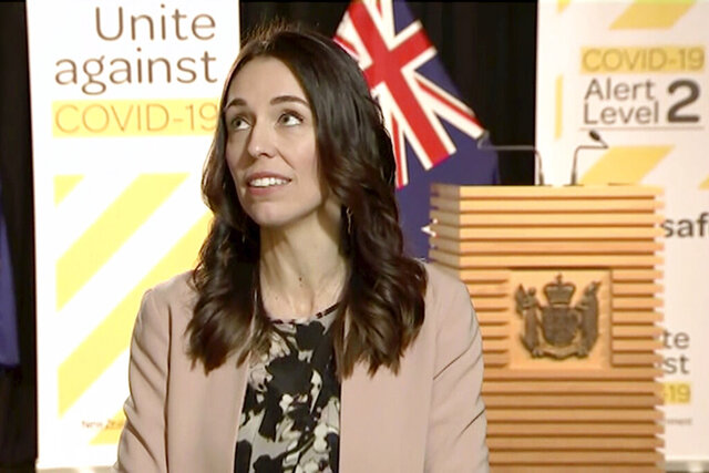 In this image made from video, New Zealand Prime Minister Jacinda Ardern looks up when an earthquake struck during a live television interview in Wellington, New Zealand, Monday morning, May 25, 2020. New Zealand sits on the Pacific Ring of Fire and is sometimes called the Shaky Isles for its frequent quakes. (Newshub via AP)