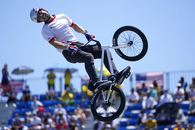 Kenneth Fabian Tencio Esquivel of Costa Rica competes in the men's BMX freestyle final at the 2020 Summer Olympics, Sunday, Aug. 1, 2021, in Tokyo, Japan. (AP Photo/Ben Curtis)