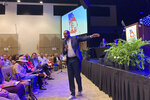 Former Democratic state Rep. Jones urges Republicans to vote for him for governor in 2022 at the 6th Congressional District convention in Alpharetta, Ga., on Saturday, May 15, 2021. Republicans gathered in congressional district conventions across the state. (AP Photo/Jeff Amy)