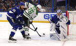 Tampa Bay Lightning goaltender Andrei Vasilevskiy, of Russia, makes a save against Dallas Stars' Brett Ritchie, as Braydon Coburn (55) defends during the first period of an NHL hockey game Thursday, Feb. 14, 2019, in Tampa, Fla. (AP Photo/Mike Carlson)