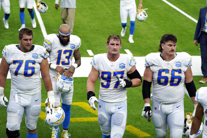 Los Angeles Chargers players walk off the field after a 23-20 overtime loss to the Kansas City Chiefs during an NFL football game Sunday, Sept. 20, 2020, in Inglewood, Calif. (AP Photo/Ashley Landis )