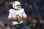 Fresno State quarterback Jorge Reyna looks to pass against San Diego State during the first half of the NCAA college football game Friday, Nov. 15, 2019, in San Diego. (AP Photo/Orlando Ramirez)