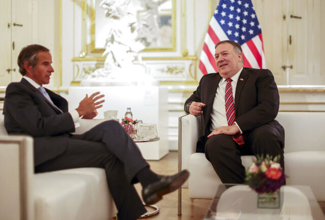 U.S. Secretary of State Mike Pompeo meets with International Atomic Energy Agency (IAEA) Director General Rafael Grossi in Vienna, Friday, Aug. 14, 2020. Pompeo is on a five day visit to central Europe. (Lisi Niesner/Pool Photo via AP)