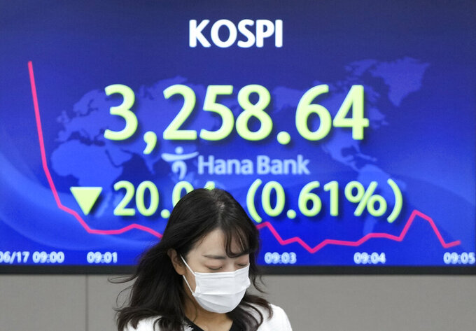 A currency trader walks near the screen showing the Korea Composite Stock Price Index (KOSPI) at the foreign exchange dealing room in Seoul, South Korea, Thursday, June 17, 2021. Asian stock markets followed Wall Street lower Thursday after the Federal Reserve indicated it might ease off economic stimulus earlier than previously thought.(AP Photo/Lee Jin-man)