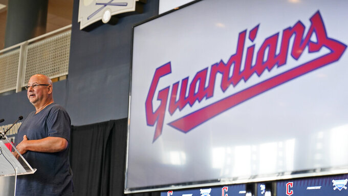 Cleveland Indians manager Terry Francona speaks at a news conference, Friday, July 23, 2021, in Cleveland. Known as the Indians since 1915, Cleveland's Major League Baseball team will be called Guardians. The ballclub announced the name change Friday, effective at the end of the 2021 season. (AP Photo/Tony Dejak)