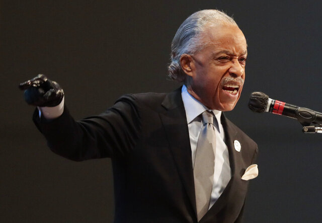 The Rev. Al Sharpton speaks during the funeral of Andre Hill on Tuesday, Jan. 5, 2021 at First Church of God in Columbus, Ohio.  Hill, a 47-year-old Black man, was shot and killed by Columbus Division of Police Officer Adam Coy in the early morning of Dec. 22, 2020 after officers responded to a non-emergency call in the area.  (Joshua A. Bickel/The Columbus Dispatch via AP)