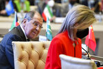 Russian Foreign Minister Sergey Lavrov, left, and U.S. Homeland Security Advisor Elizabeth Sherwood-Randall attend the Central and South Asia 2021 conference in Tashkent, Uzbekistan, Friday, July 16, 2021. (AP Photo)