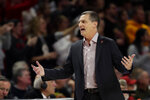 Maryland head coach Mark Turgeon reacts during the first half of an NCAA college basketball game against Notre Dame, Wednesday, Dec. 4, 2019, in College Park, Md. (AP Photo/Julio Cortez)