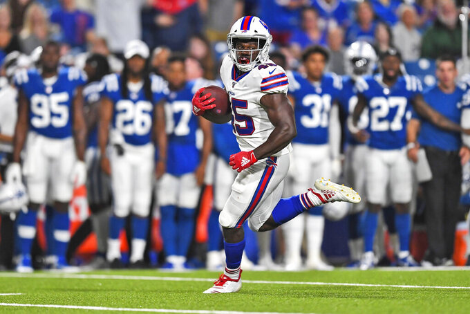 Buffalo Bills' Christian Wade runs the ball for a touchdown during the second half of an NFL preseason football game against the Indianapolis Colts, Thursday, Aug. 8, 2019, in Orchard Park, N.Y. (AP Photo/Adrian Kraus)