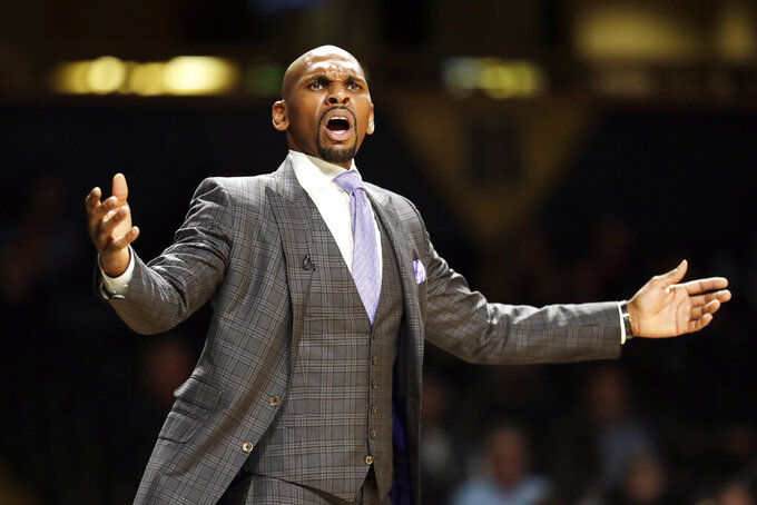 Vanderbilt head coach Jerry Stackhouse watches the action in the second half of an NCAA college basketball game between Vanderbilt and Southeast Missouri State Wednesday, Nov. 6, 2019, in Nashville, Tenn. (AP Photo/Mark Humphrey)