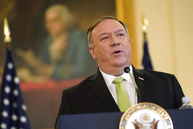 Secretary of State Mike Pompeo speaks during a news conference to announce the Trump administration's restoration of sanctions on Iran, Monday, Sept. 21, 2020, at the U.S. State Department in Washington. (AP Photo/Patrick Semansky)