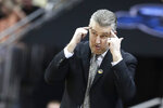 FILE- In this March 28, 2019, file photo, Purdue head coach Matt Painter watches during the first half of a regional semifinal against Tennessee in the NCAA college basketball tournament in Louisville, Ky. Seven months after Carsen Edwards nearly led Purdue to the Final Four, Painter finds himself contemplating how the next chapter in the Boilermakers recurring replacement story could go. (AP Photo/Michael Conroy, File)