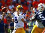 LSU quarterback Joe Burrow (9) throws a pass during the first half of an NCAA college football game against Auburn, Saturday, Sept. 15, 2018, in Auburn, Ala. (AP Photo/Butch Dill)