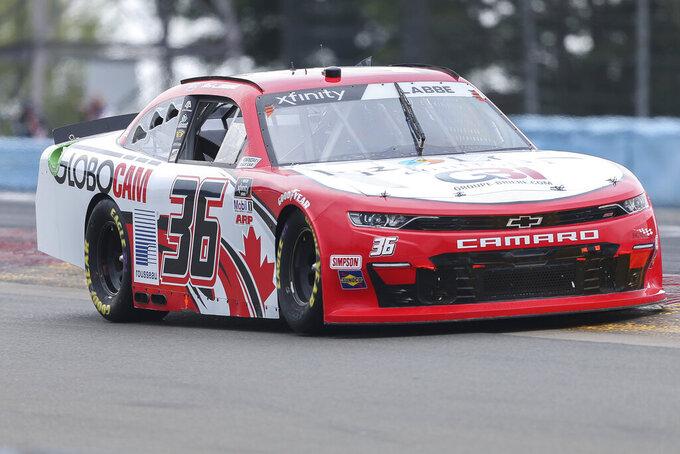Alex Labbe drives between Turn 1 and the Esses in the NASCAR Xfinity Series auto race at Watkins Glen International in Watkins Glen, N.Y., on Saturday, Aug. 7, 2021. (AP Photo/Joshua Bessex)