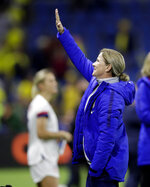 United States coach Jill Ellis waves to the crowd following her team's 2-0 win over Sweden in their Women's World Cup Group F soccer match at Stade Océane, in Le Havre, France, Thursday, June 20, 2019. (AP Photo/Alessandra Tarantino)