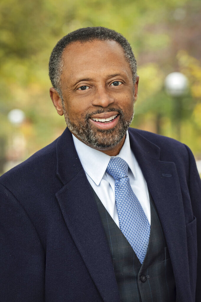This undated photo provided by the Center for Social Solutions, University of Michigan, shows Dr. Earl Lewis. Lewis says reparations are not about the past. The founding director of the University of Michigan Center for Social Solutions has developed a program, funded by a $5 million grant from the Andrew W. Mellon Foundation, for nine universities to work with their communities to develop research-based reparation solutions that could be expanded across the country.    (Courtesy of Dr. Earl Lewis/Center for Social Solutions, University of Michigan via AP)