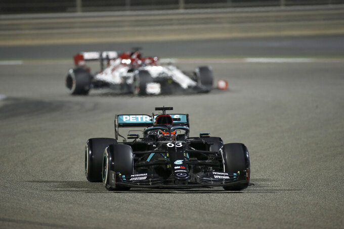 Mercedes driver George Russell of Britain competes during the Formula One Bahrain Grand Prix in Sakhir, Bahrain, Sunday, Dec. 6, 2020. (Brynn Lennon, Pool via AP)