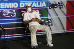 Mercedes driver Lewis Hamilton of Britain attends a press conference ahead of Sunday's Italian Formula One Grand Prix, at the Monza racetrack, in Monza, Italy, Thursday, Sept. 9, 2021. (AP Photo/Luca Bruno, Pool)