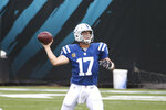 Indianapolis Colts quarterback Philip Rivers (17) throws a pass during the first half of an NFL football game against the Jacksonville Jaguars, Sunday, Sept. 13, 2020, in Jacksonville, Fla. (AP Photo/Stephen B. Morton)