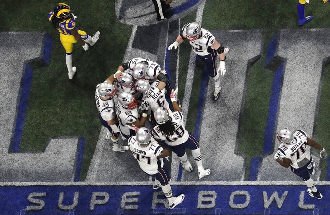The New England Patriots celebrate a 41-yard field goal by Stephen Gostkowski against the Los Angeles Rams during the second half of the NFL Super Bowl 53 football game Sunday, Feb. 3, 2019, in Atlanta. The New England Patriots won 13-3. (AP Photo/Morry Gash)